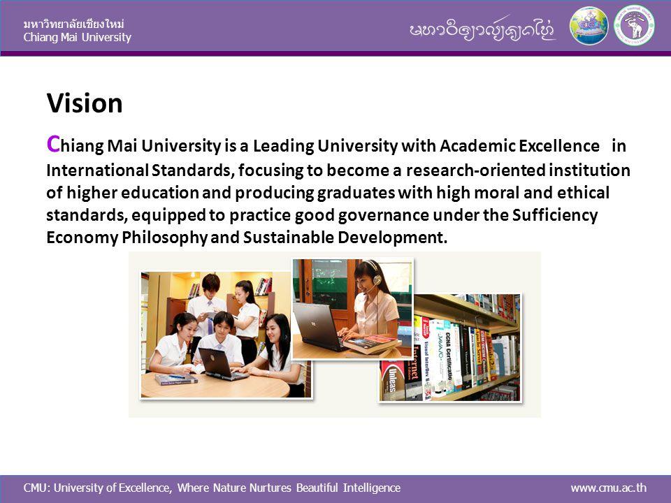 CMU: University of Excellence, Where Nature Nurtures Beautiful Intelligence มหาวิทยาลัยเชียงใหม่ Chiang Mai University www.cmu.ac.th Vision C hiang Ma