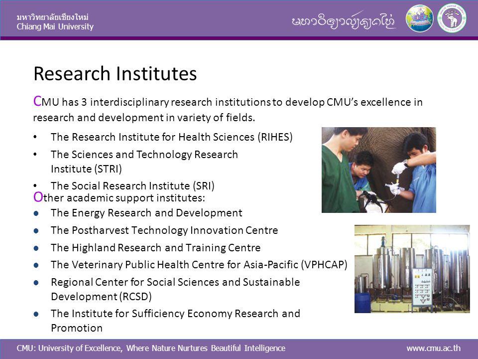 CMU: University of Excellence, Where Nature Nurtures Beautiful Intelligence มหาวิทยาลัยเชียงใหม่ Chiang Mai University www.cmu.ac.th Research Institut
