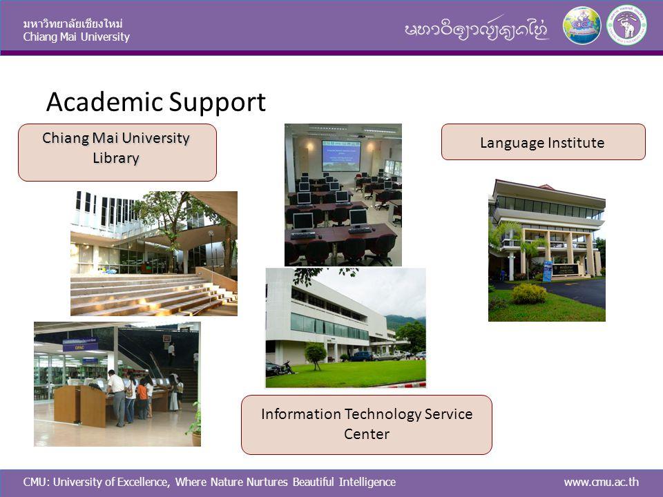 CMU: University of Excellence, Where Nature Nurtures Beautiful Intelligence มหาวิทยาลัยเชียงใหม่ Chiang Mai University www.cmu.ac.th Academic Support
