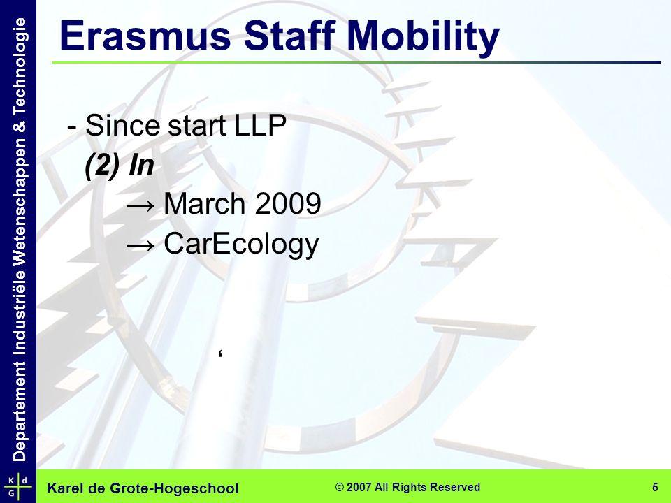 Karel de Grote-Hogeschool Departement Industriële Wetenschappen & Technologie © 2007 All Rights Reserved 5 - Since start LLP (2) In → March 2009 → Car