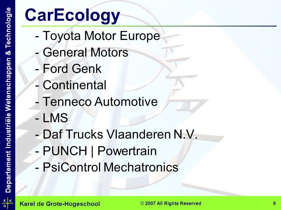 Karel de Grote-Hogeschool Departement Industriële Wetenschappen & Technologie © 2007 All Rights Reserved 9 CarEcology - Toyota Motor Europe - General