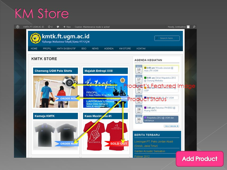 Product's Featured image Product Status