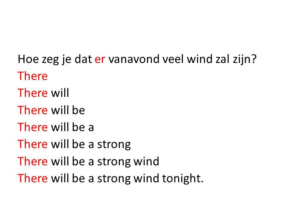 Hoe zeg je dat er vanavond veel wind zal zijn.