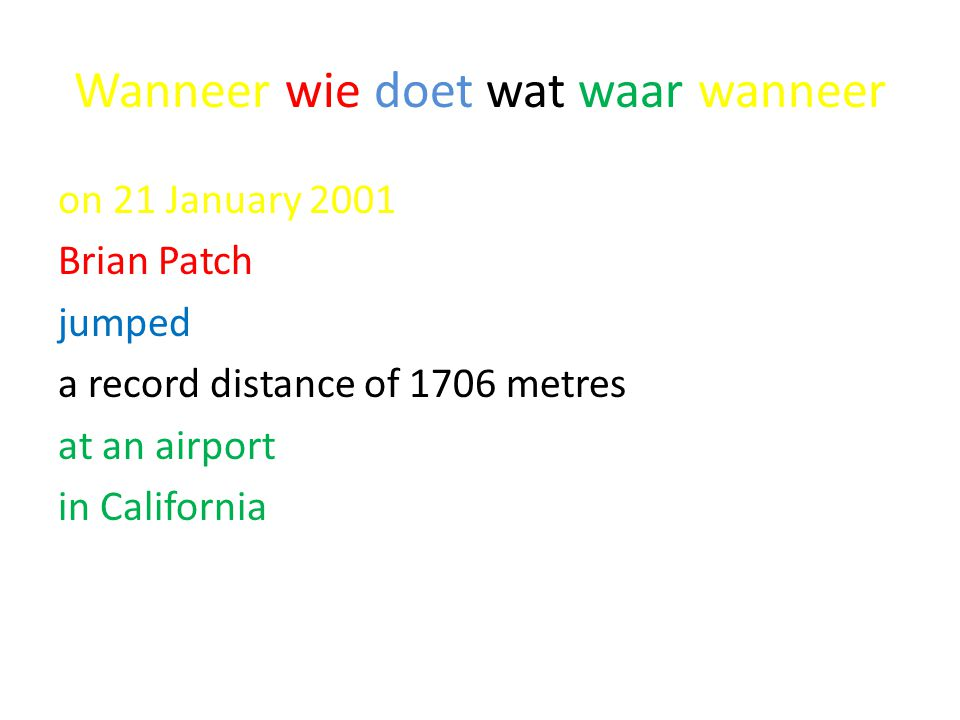 Wanneer wie doet wat waar wanneer on 21 January 2001 Brian Patch jumped a record distance of 1706 metres at an airport in California