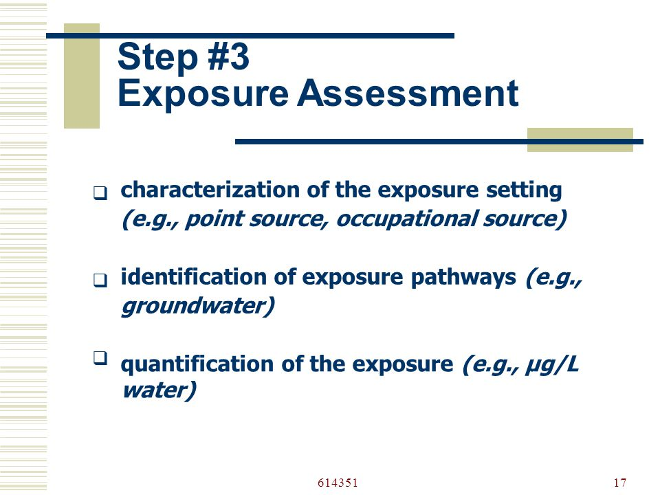 61435117 Step #3 Exposure Assessment  characterization of the exposure setting (e.g., point source, occupational source)  identification of exposure pathways (e.g., groundwater)  quantification of the exposure (e.g., µg/L water)