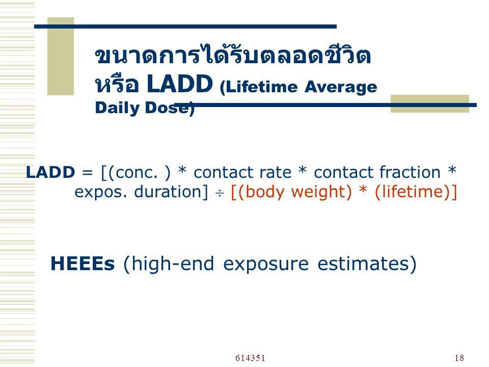 61435118 ขนาดการได้รับตลอดชีวิต หรือ LADD (Lifetime Average Daily Dose) LADD = [(conc.