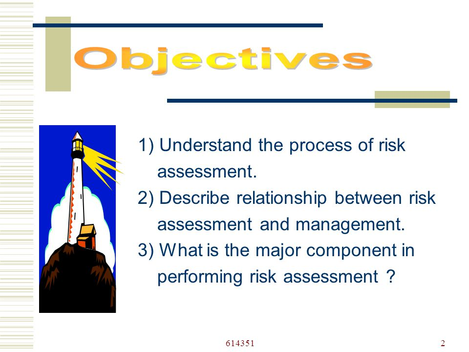 6143512 1) Understand the process of risk assessment.