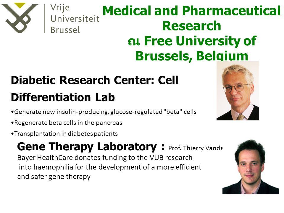 ป. โท สาขา Medical and Pharmaceutical Research ณ Free University of Brussels, Belgium Gene Therapy Laboratory : Prof. Thierry Vandendriessche Bayer He