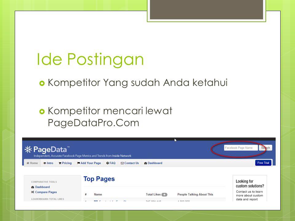 Ide Postingan  Kompetitor Yang sudah Anda ketahui  Kompetitor mencari lewat PageDataPro.Com