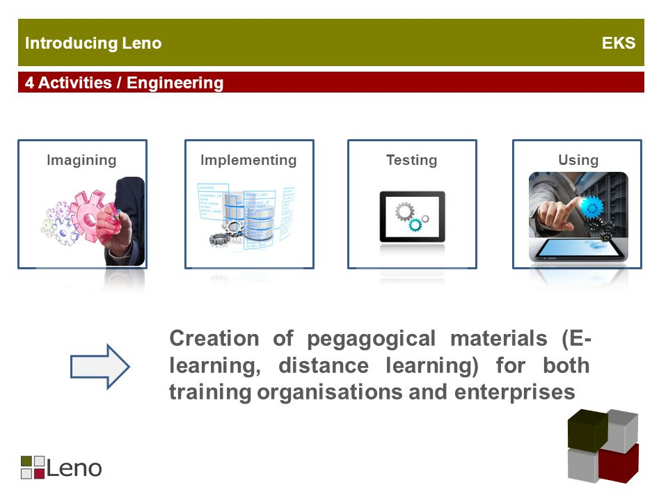 ImaginingImplementing UsingTesting Creation of pegagogical materials (E- learning, distance learning) for both training organisations and enterprises 4 Activities / Engineering Introducing Leno EKS