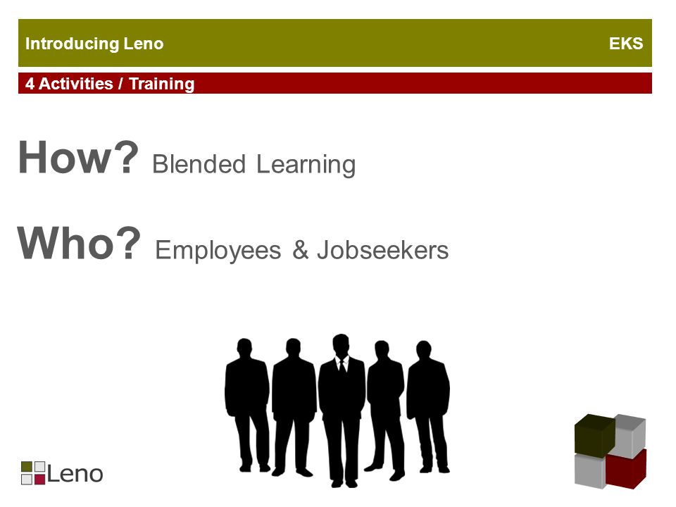 4 Activities / Training Introducing Leno EKS How Blended Learning Who Employees & Jobseekers