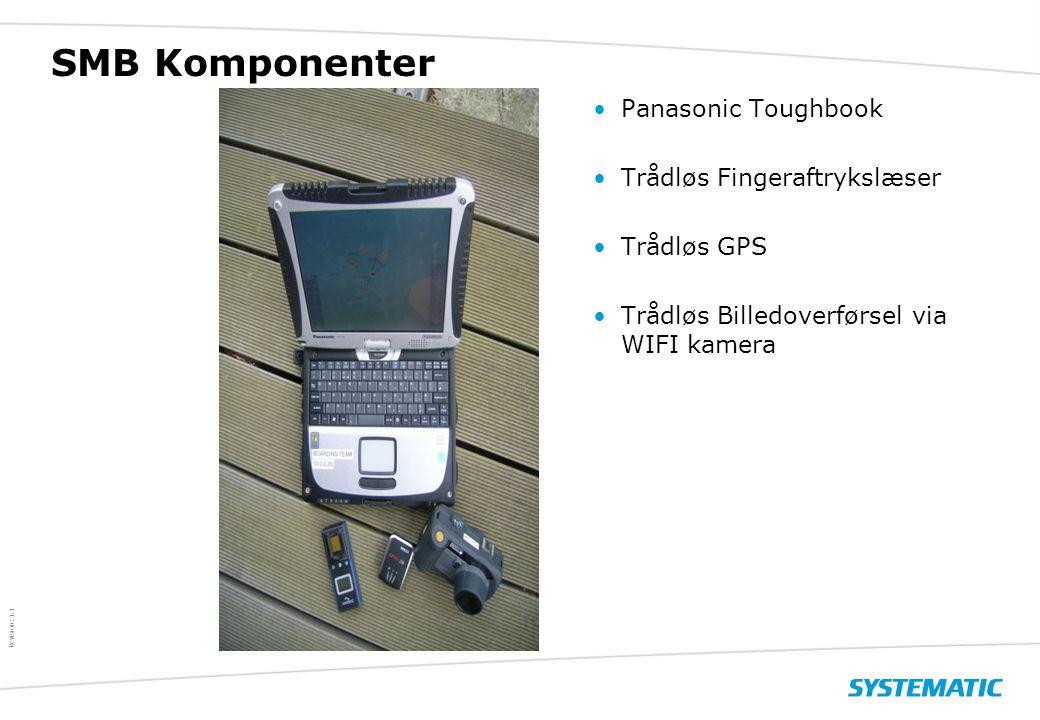 $ Revision: 1.1 $ SMB Komponenter •Panasonic Toughbook •Trådløs Fingeraftrykslæser •Trådløs GPS •Trådløs Billedoverførsel via WIFI kamera