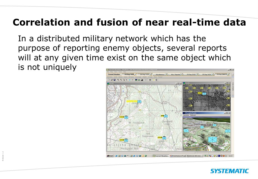 $ Revision: 1.1 $ Correlation and fusion of near real-time data In a distributed military network which has the purpose of reporting enemy objects, several reports will at any given time exist on the same object which is not uniquely