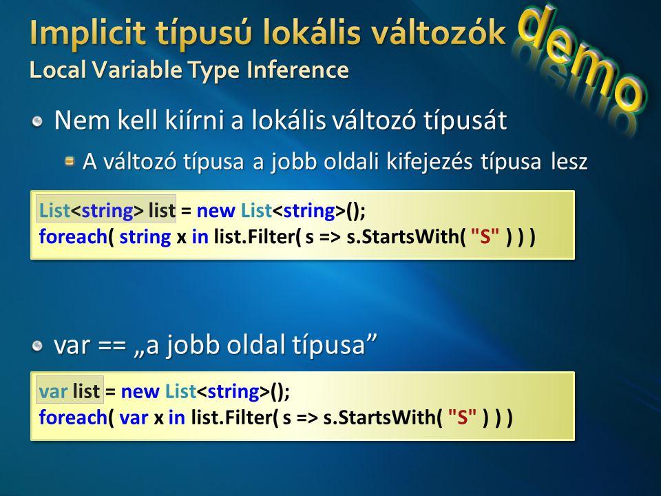 List list = new List (); foreach( string x in list.Filter( s => s.StartsWith( S ) ) ) List list = new List (); foreach( string x in list.Filter( s => s.StartsWith( S ) ) ) var list = new List (); foreach( var x in list.Filter( s => s.StartsWith( S ) ) ) var list = new List (); foreach( var x in list.Filter( s => s.StartsWith( S ) ) )