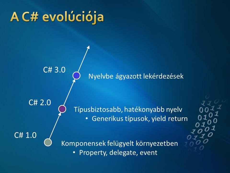 C# 1.0 C# 2.0 C# 3.0 Komponensek felügyelt környezetben • Property, delegate, event Típusbiztosabb, hatékonyabb nyelv • Generikus típusok, yield return Nyelvbe ágyazott lekérdezések