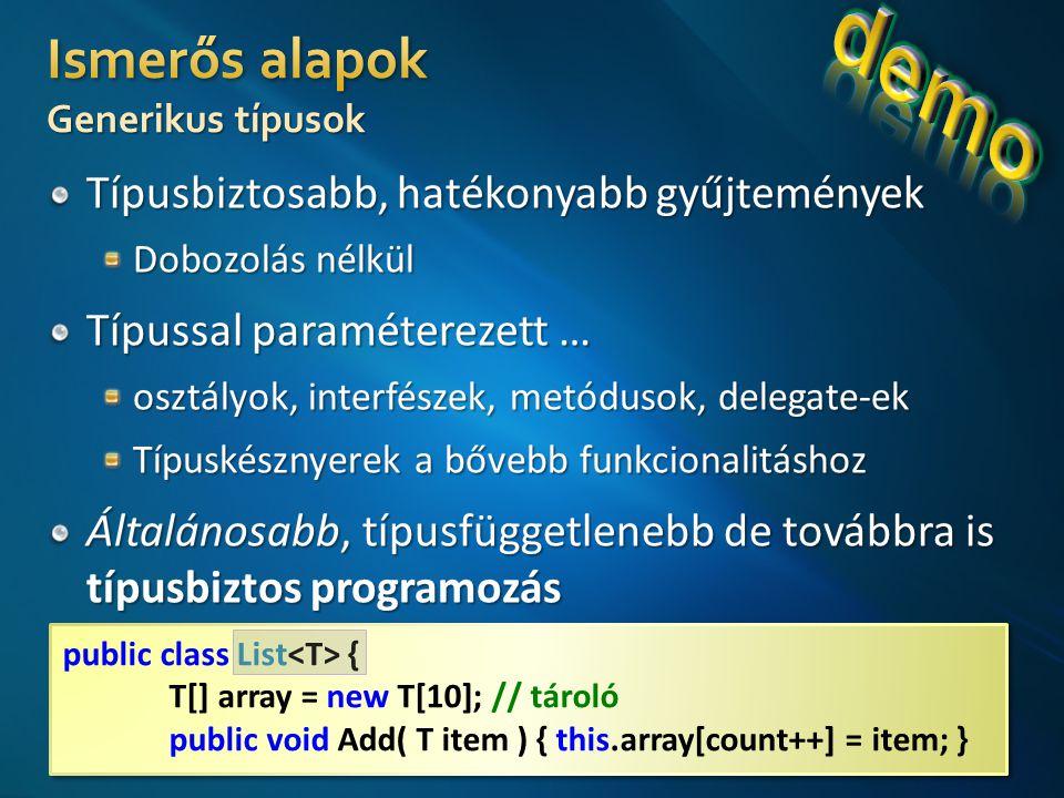 public class List { T[] array = new T[10]; // tároló public void Add( T item ) { this.array[count++] = item; } public class List { T[] array = new T[10]; // tároló public void Add( T item ) { this.array[count++] = item; }