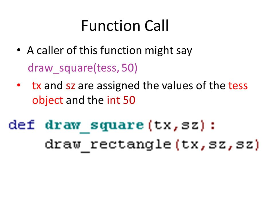 • A caller of this function might say draw_square(tess, 50) • tx and sz are assigned the values of the tess object and the int 50 Function Call