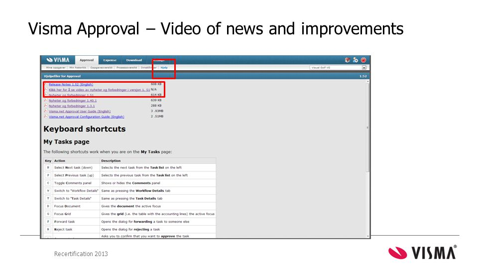 Recertification 2013 Visma Approval – Video of news and improvements