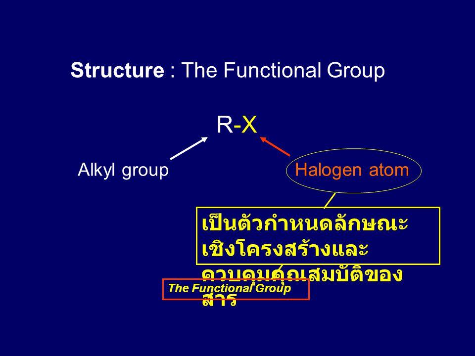 Structure : The Functional Group R-X Alkyl groupHalogen atom เป็นตัวกำหนดลักษณะ เชิงโครงสร้างและ ควบคุมคุณสมบัติของ สาร The Functional Group