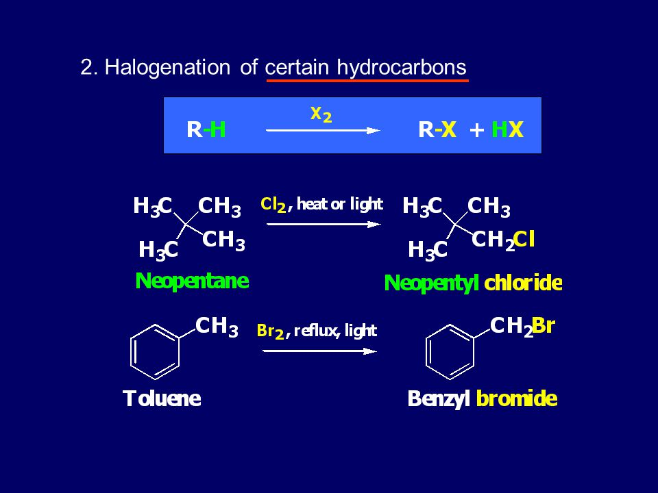2. Halogenation of certain hydrocarbons