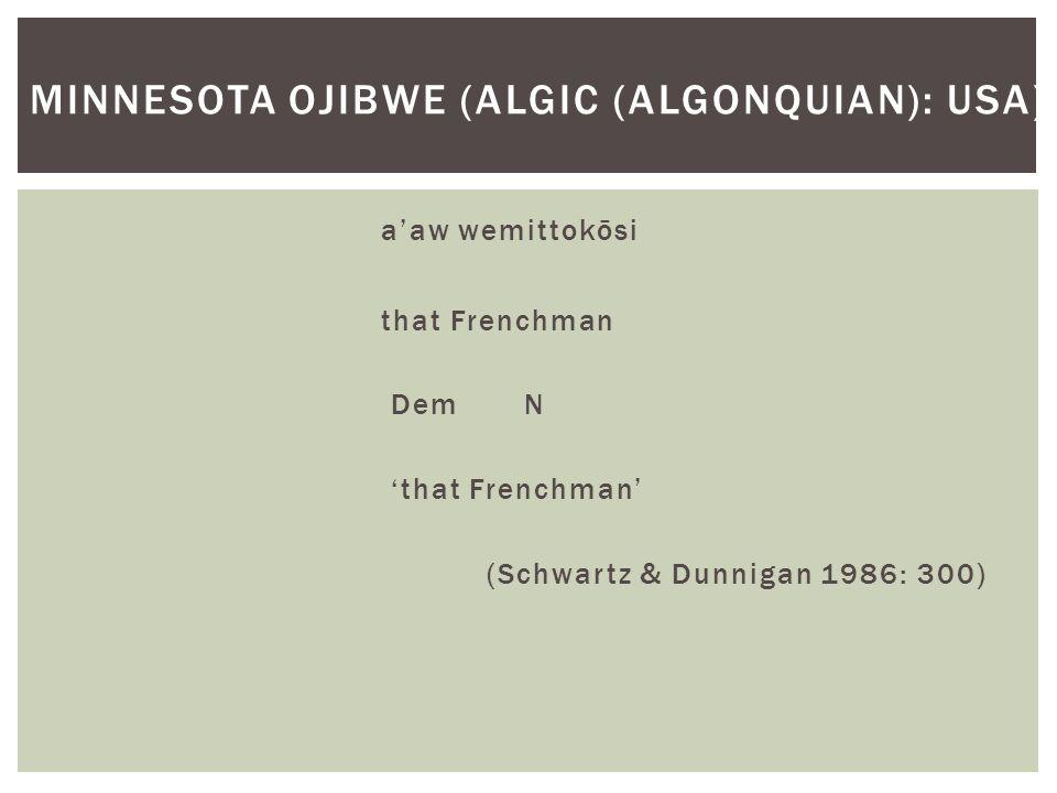 a'aw wemittokōsi that Frenchman Dem N 'that Frenchman' (Schwartz & Dunnigan 1986: 300) MINNESOTA OJIBWE (ALGIC (ALGONQUIAN): USA)