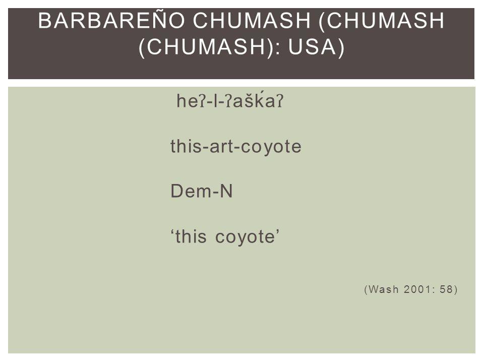he ʔ -l- ʔ aška ʔ this-art-coyote Dem-N 'this coyote' (Wash 2001: 58) BARBAREÑO CHUMASH (CHUMASH (CHUMASH): USA)