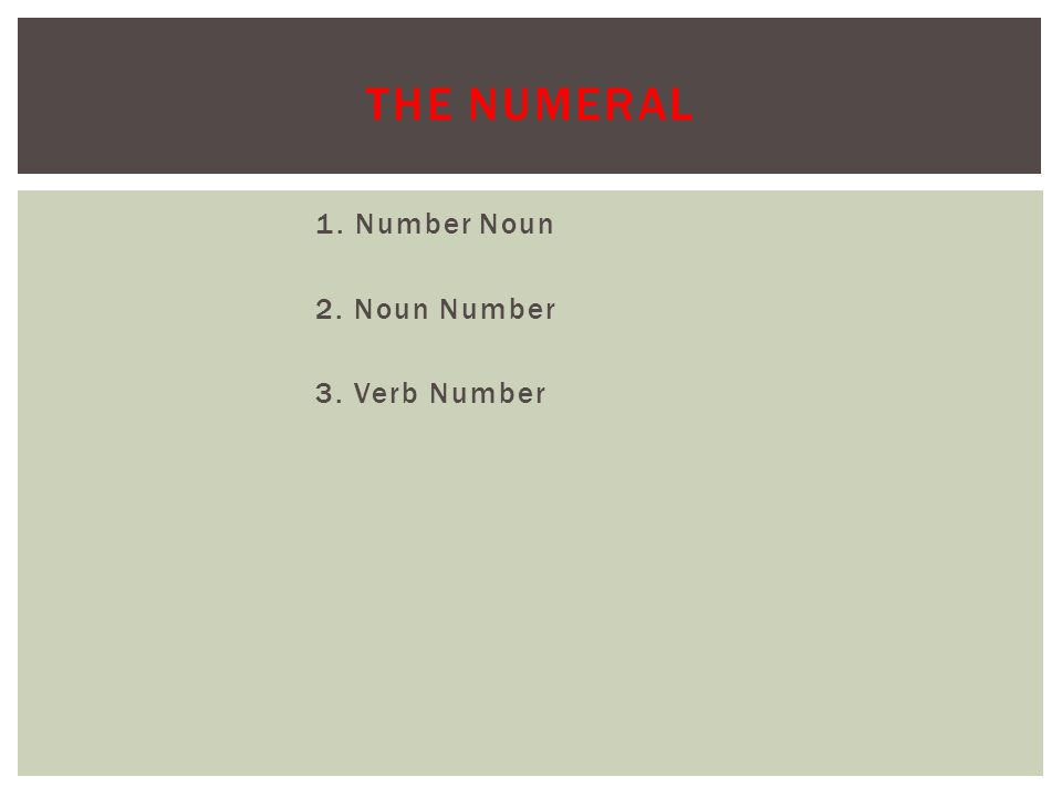 1. Number Noun 2. Noun Number 3. Verb Number THE NUMERAL