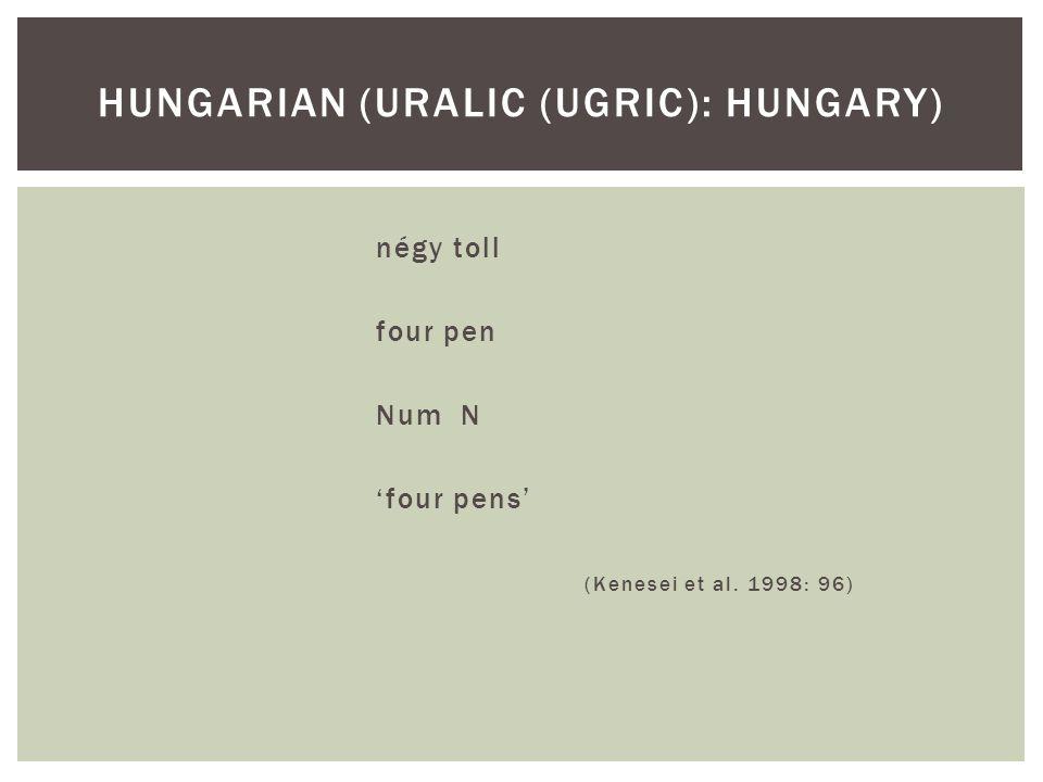 négy toll four pen Num N 'four pens' (Kenesei et al. 1998: 96) HUNGARIAN (URALIC (UGRIC): HUNGARY)