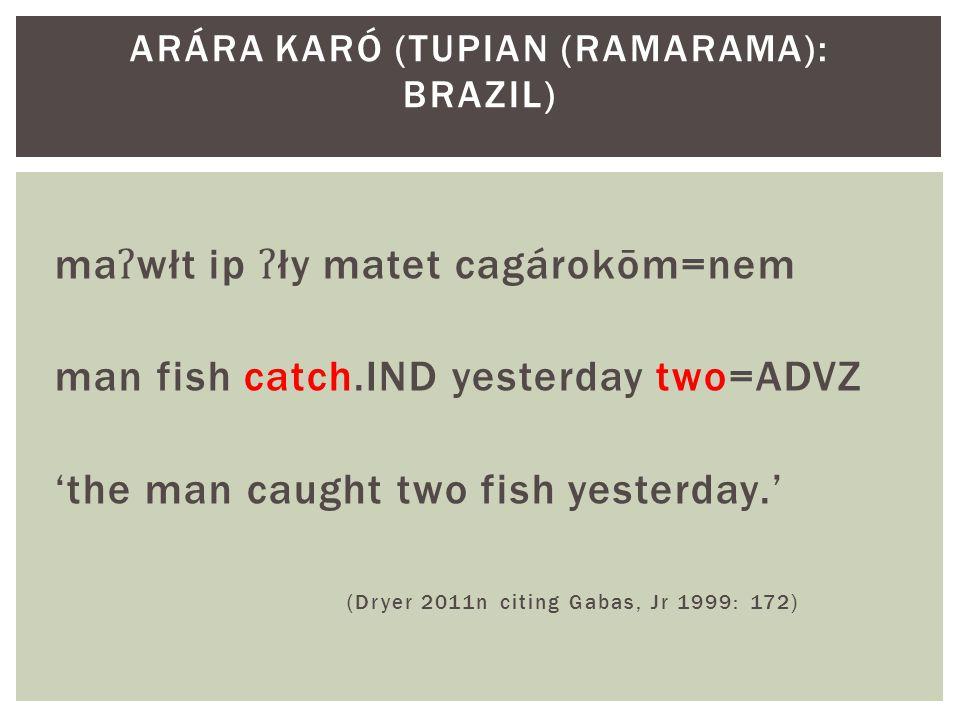 ma ʔ włt ip ʔ ły matet cagárokōm=nem man fish catch.IND yesterday two=ADVZ 'the man caught two fish yesterday.' (Dryer 2011n citing Gabas, Jr 1999: 172) ARÁRA KARÓ (TUPIAN (RAMARAMA): BRAZIL)
