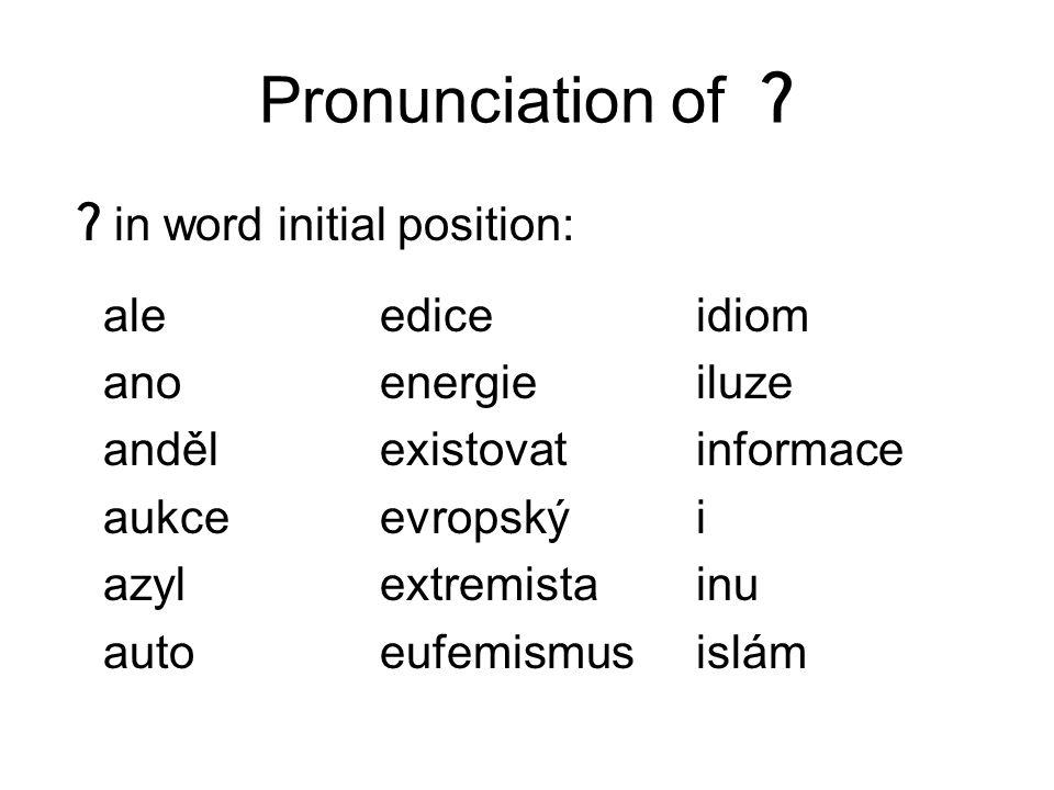 Pronunciation of ʔ ʔ in word initial position: ale ediceidiom anoenergieiluze andělexistovatinformace aukceevropskýi azylextremistainu autoeufemismusislám