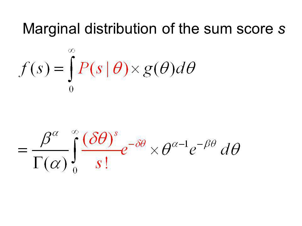 Marginal distribution of the sum score s