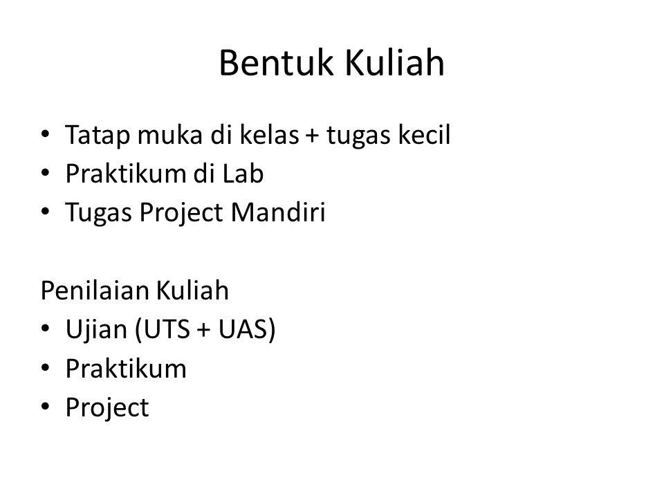 Bentuk Kuliah • Tatap muka di kelas + tugas kecil • Praktikum di Lab • Tugas Project Mandiri Penilaian Kuliah • Ujian (UTS + UAS) • Praktikum • Projec