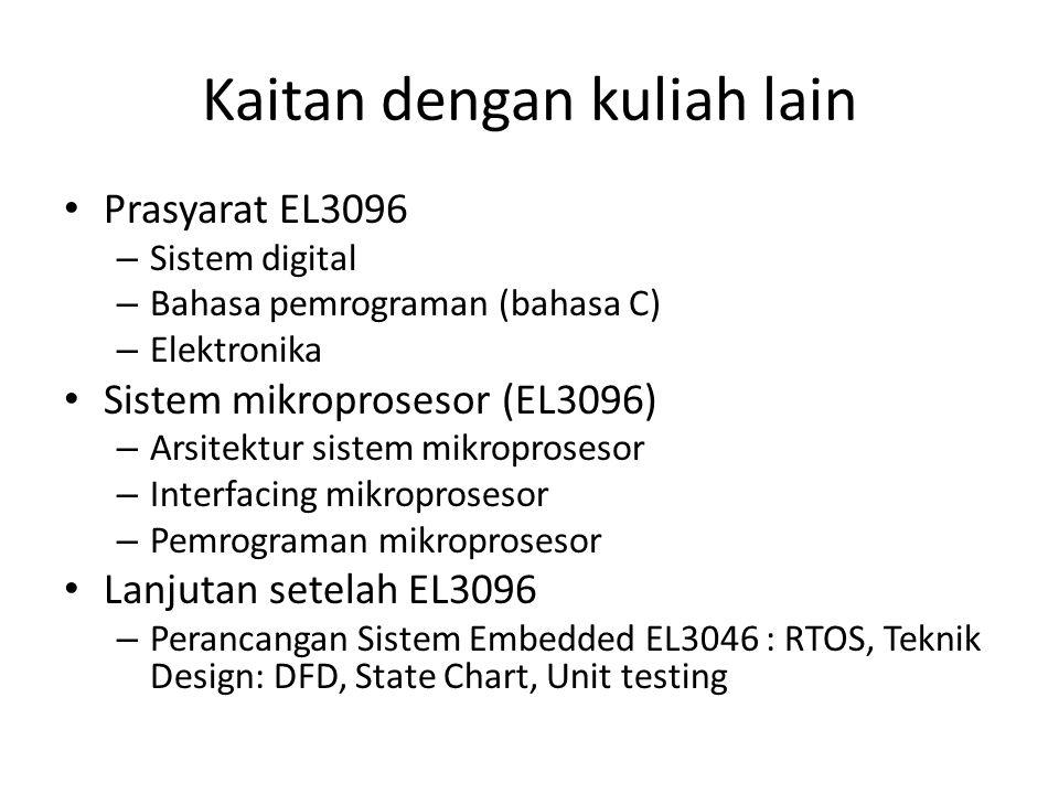 Kaitan dengan kuliah lain • Prasyarat EL3096 – Sistem digital – Bahasa pemrograman (bahasa C) – Elektronika • Sistem mikroprosesor (EL3096) – Arsitekt