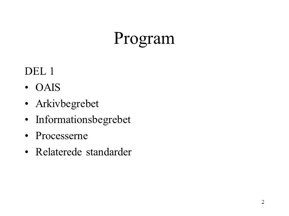2 Program DEL 1 •OAIS •Arkivbegrebet •Informationsbegrebet •Processerne •Relaterede standarder