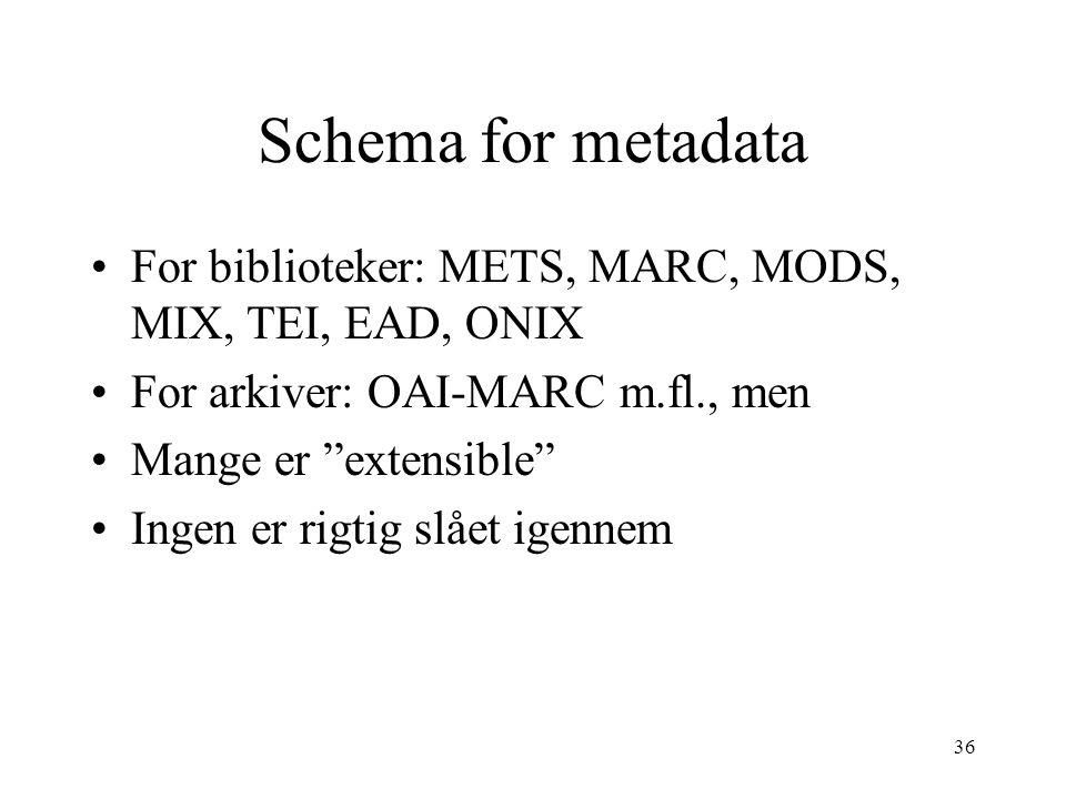 "36 Schema for metadata •For biblioteker: METS, MARC, MODS, MIX, TEI, EAD, ONIX •For arkiver: OAI-MARC m.fl., men •Mange er ""extensible"" •Ingen er rigt"