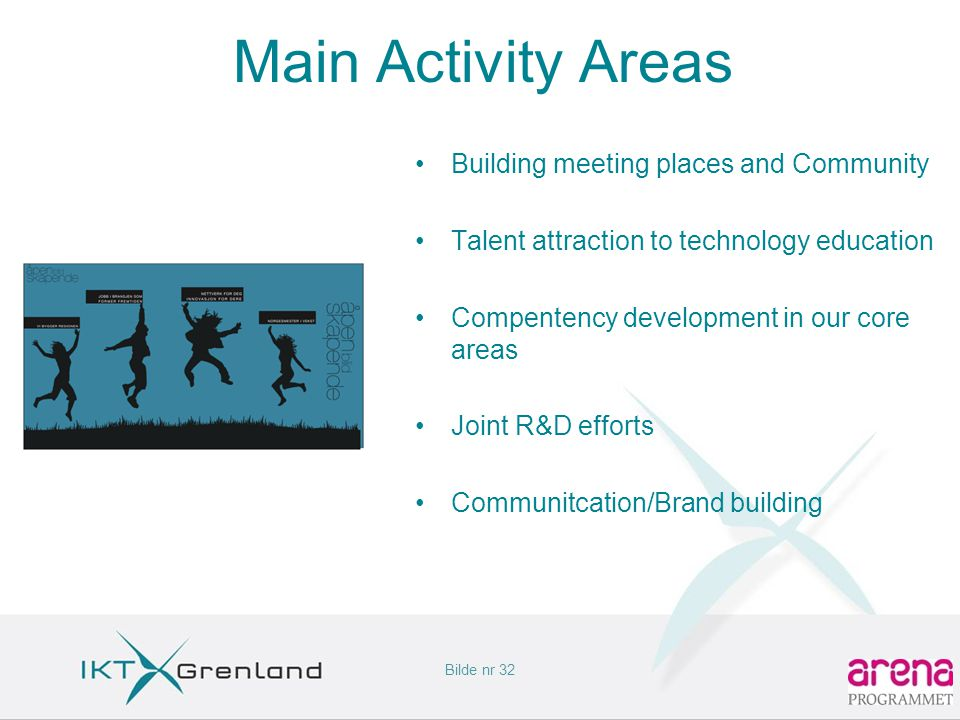 Bilde nr 32 Main Activity Areas •Building meeting places and Community •Talent attraction to technology education •Compentency development in our core areas •Joint R&D efforts •Communitcation/Brand building
