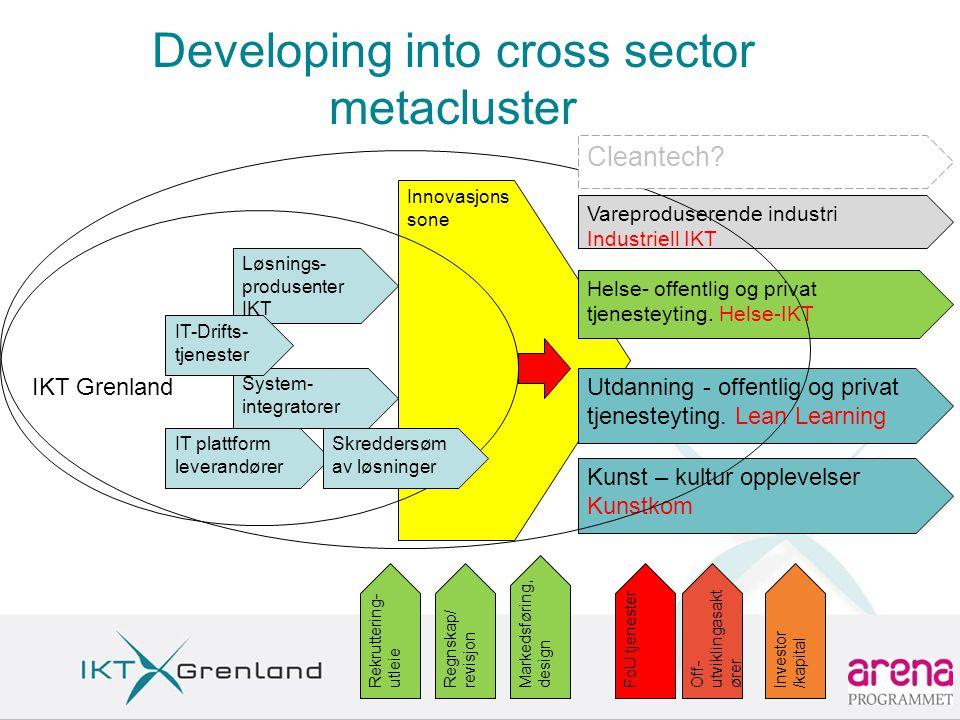 Innovasjons sone Developing into cross sector metacluster Løsnings- produsenter IKT System- integratorer Markedsføring, design Regnskap/ revisjon FoU tjenesterRekruttering- utleie IT-Drifts- tjenester IT plattform leverandører Skreddersøm av løsninger Vareproduserende industri Industriell IKT Helse- offentlig og privat tjenesteyting.