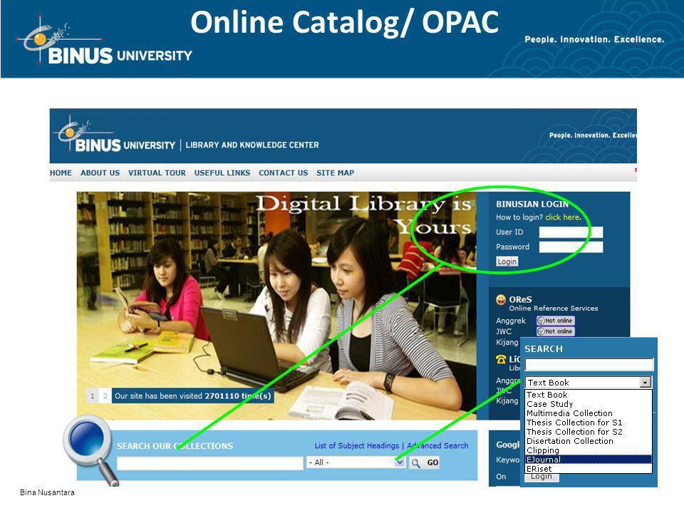 Bina Nusantara Online Catalog/ OPAC