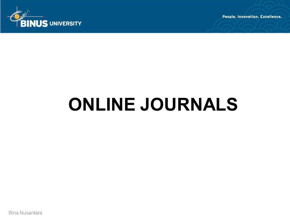 ONLINE JOURNALS Bina Nusantara