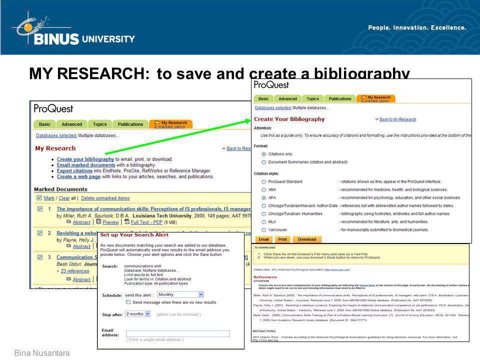 Bina Nusantara MY RESEARCH: to save and create a bibliography