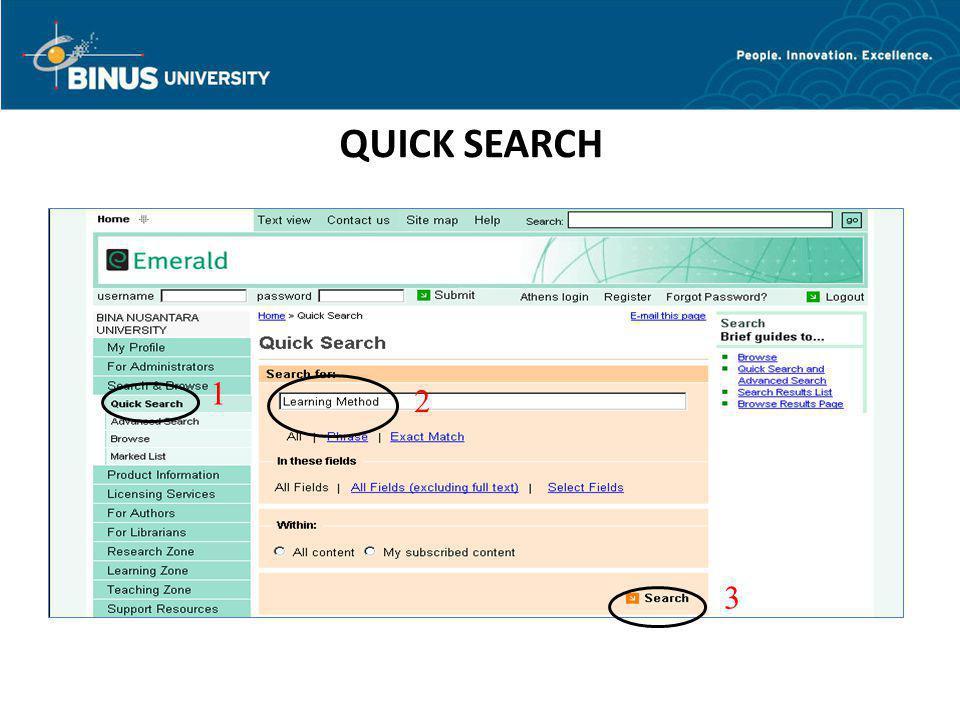 QUICK SEARCH 1 2 3