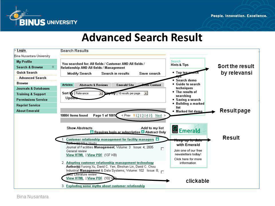 Bina Nusantara Advanced Search Result Sort the result by relevansi Result page Result clickable
