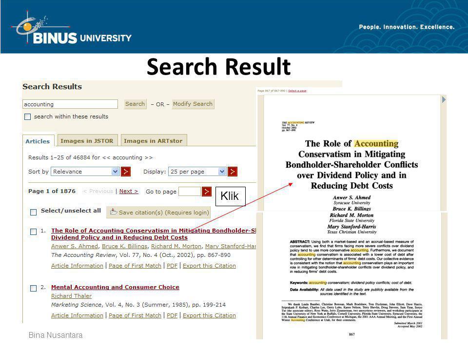 Bina Nusantara Search Result Klik