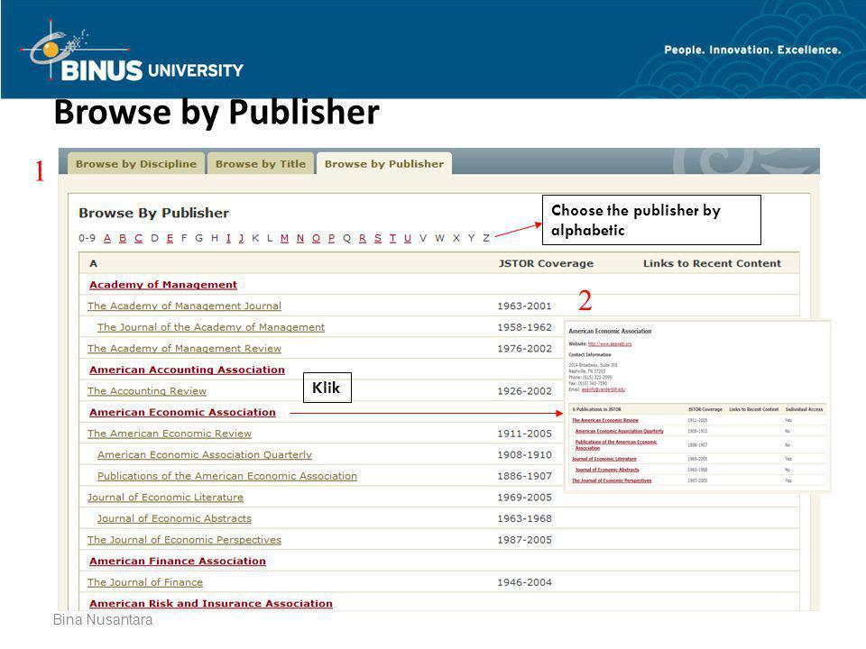 Bina Nusantara Browse by Publisher Choose the publisher by alphabetic Klik 1 2