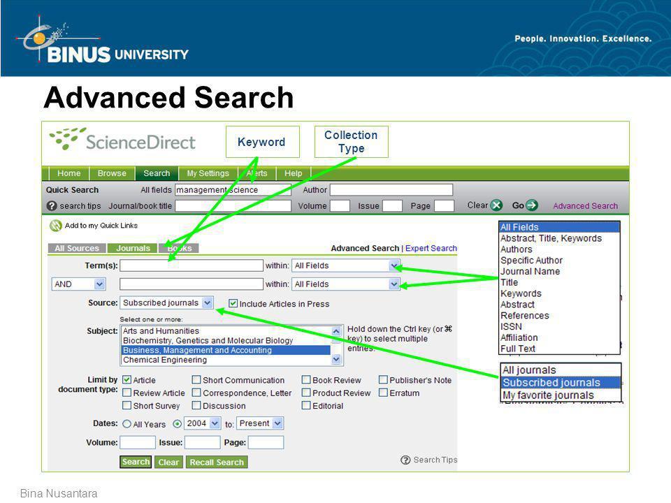 Bina Nusantara Advanced Search Keyword Collection Type