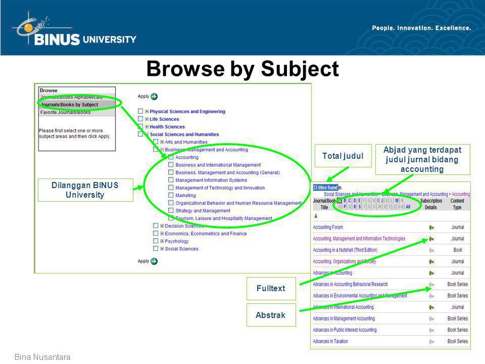 Bina Nusantara Browse by Subject Dilanggan BINUS University Total judul Abjad yang terdapat judul jurnal bidang accounting Fulltext Abstrak