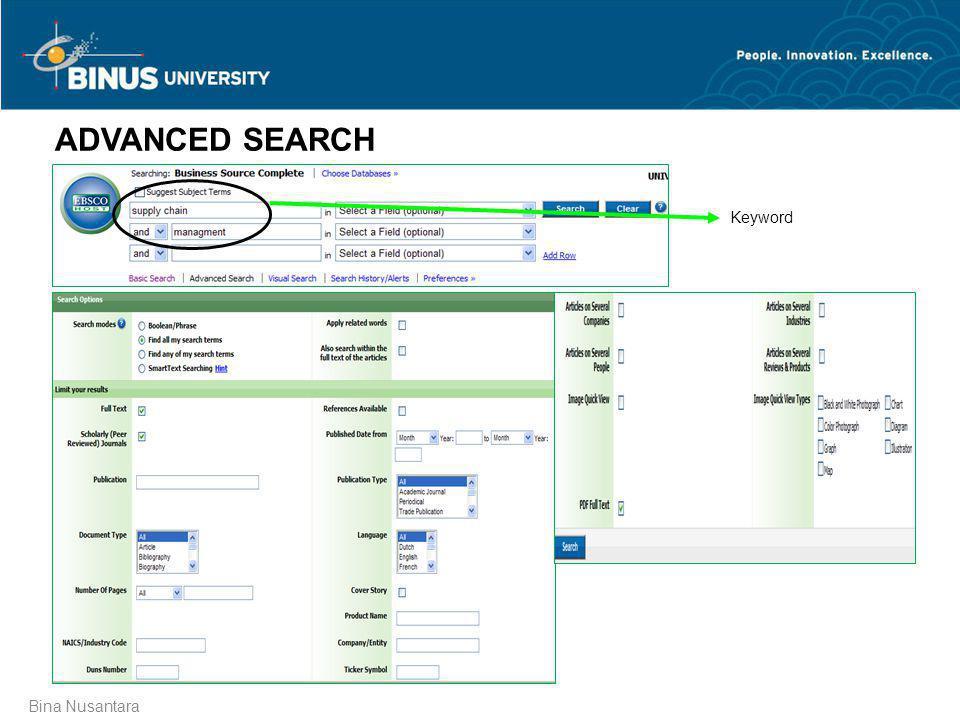 Bina Nusantara ADVANCED SEARCH Keyword