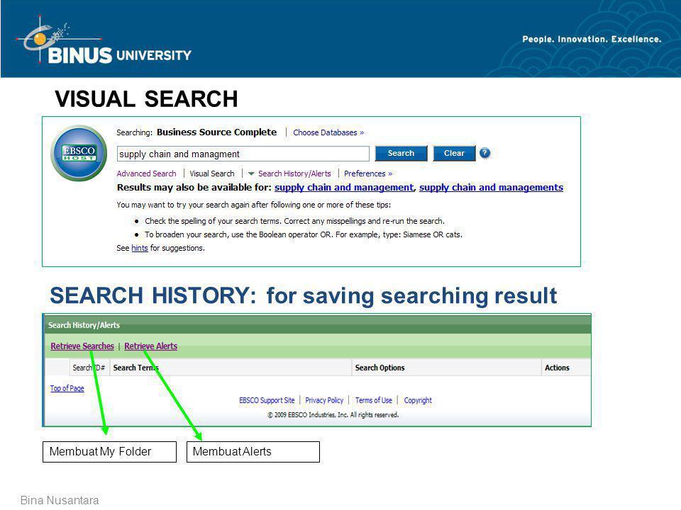 Bina Nusantara VISUAL SEARCH SEARCH HISTORY: for saving searching result Membuat My FolderMembuat Alerts