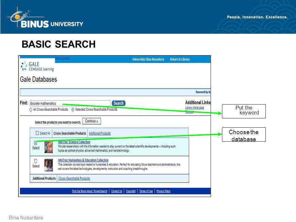 Bina Nusantara BASIC SEARCH Put the keyword Choose the database