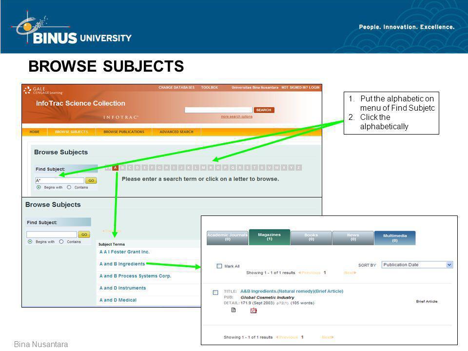 Bina Nusantara BROWSE SUBJECTS 1.Put the alphabetic on menu of Find Subjetc 2.Click the alphabetically